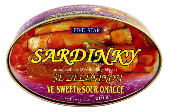 Five Star Sardinky se zeleninou ve Sweet and Sour omáčce 210g